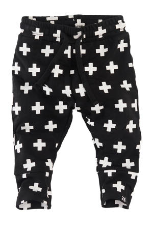 newborn joggingbroek Mundo met all over print zwart/wit