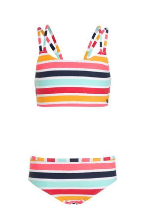 gestreepte crop bikini geel/lichtblauw/rood
