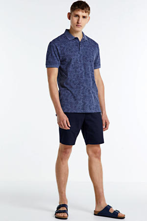 slim fit polo met bladprint donkerblauw/blauw