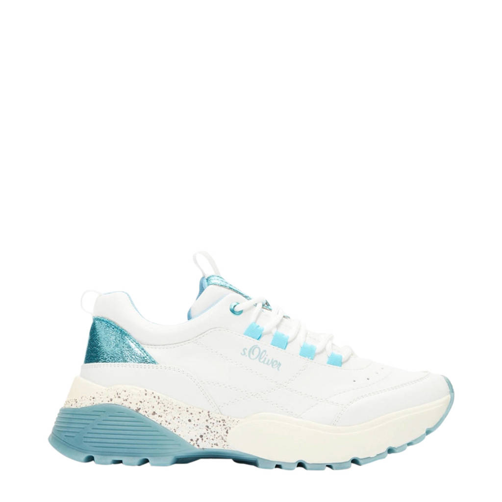 s.Oliver   chunky sneakers wit/blauw, Wit/blauw