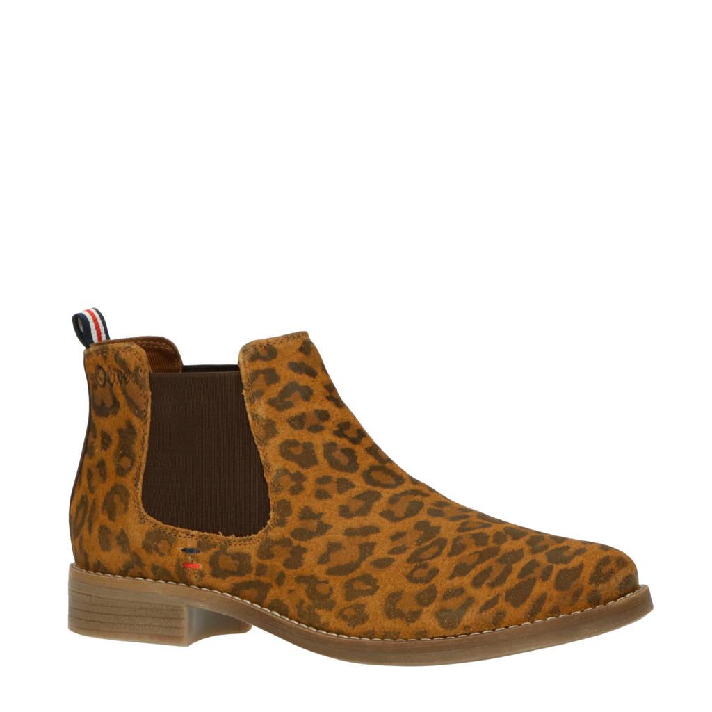 s.Oliver   suède chelsea boots panterprint, Bruin