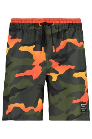 zwemshort Wiley met camouflage print groen/oranje