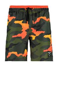 CoolCat Junior zwemshort Wiley met camouflage print groen/oranje, Groen/oranje