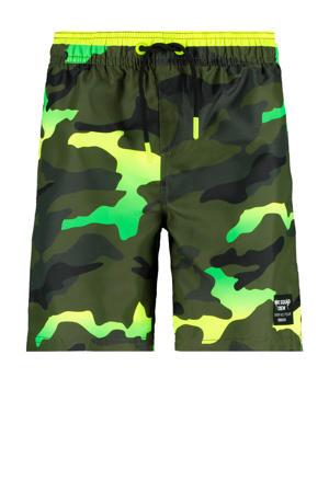 zwemshort Wiley met camouflage print groen/geel