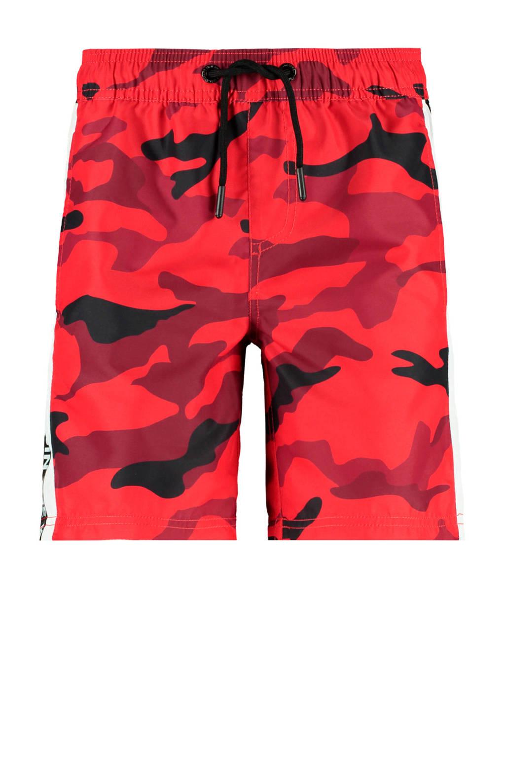 CoolCat Junior zwemshort Waylen met camouflage print rood/zwart, Rood/zwart