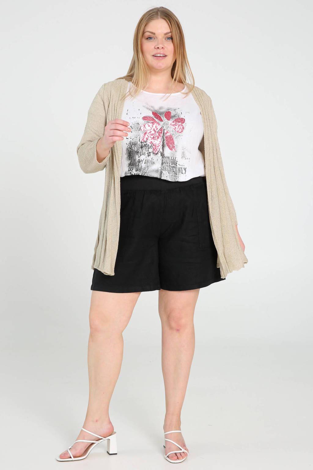 Paprika linnen high waist straight fit short zwart, Zwart