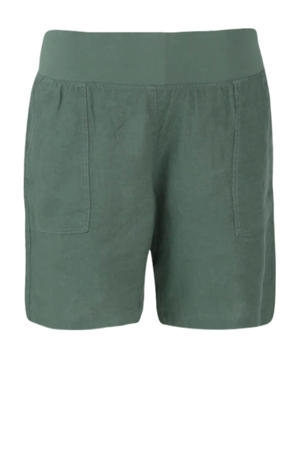 linnen high waist straight fit short groen