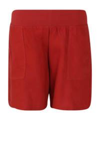 Paprika linnen high waist straight fit short rood, Rood