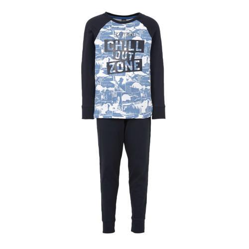 C&A Here & There pyjamabroek en longsleeve blauw-donkerblauw-wit
