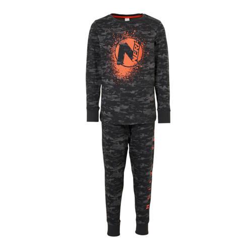 C&A pyjamabroek en longsleeve antraciet-grijs-oranje