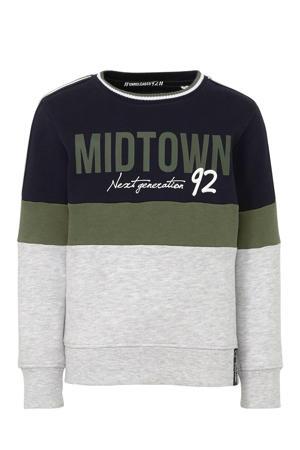 Here & There sweater met contrastbies en 3D applicatie donkerblauw/donkergroen/grijs
