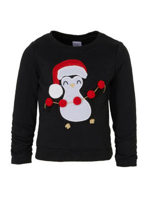Palomino sweater met borduursels zwart/rood/wit