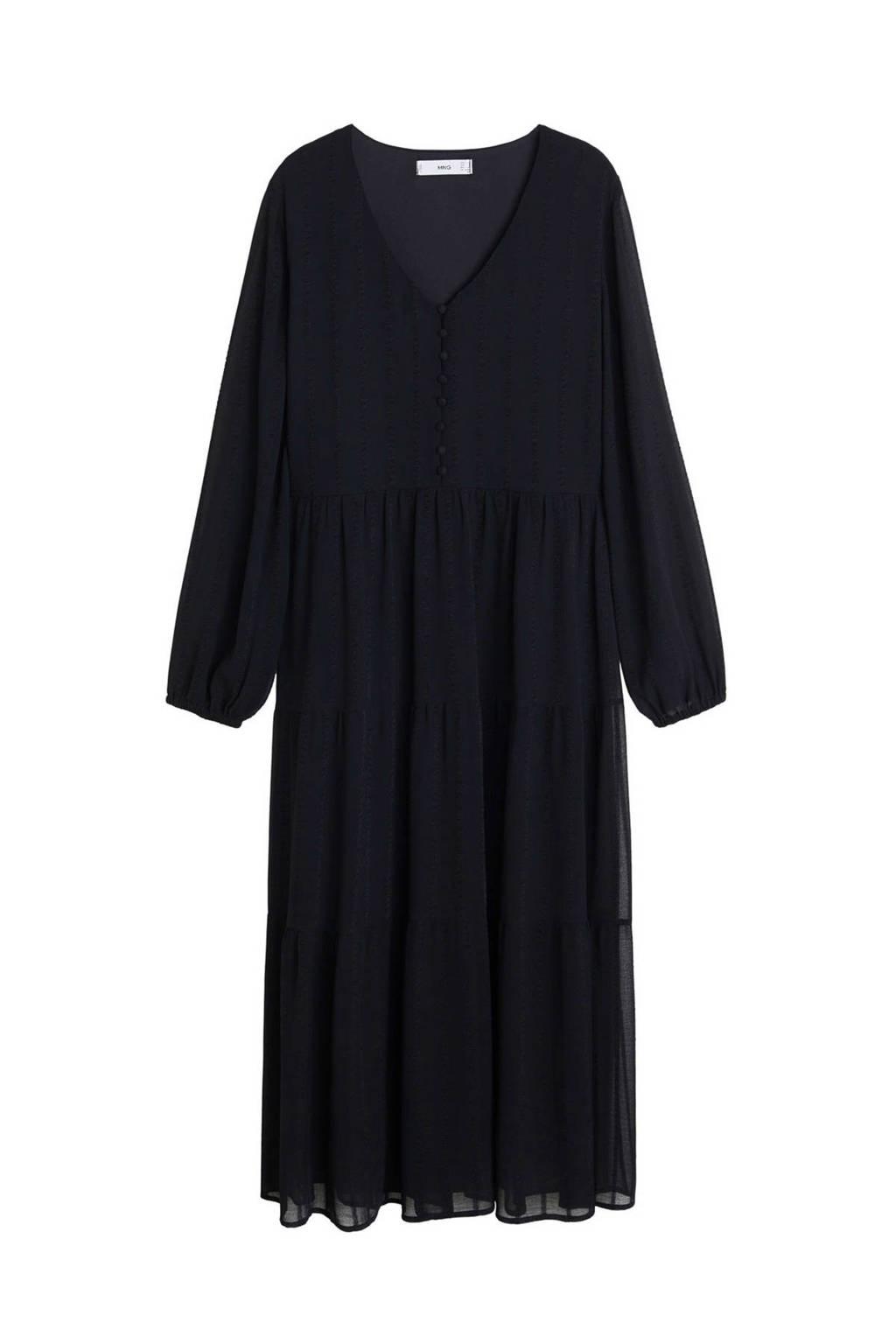 Mango semi-transparante jurk met borduursels zwart, Zwart