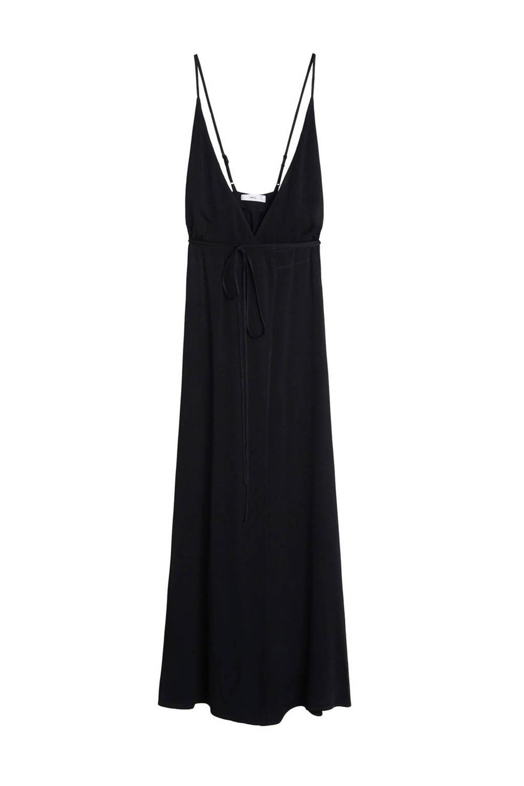 Mango jersey jurk met ceintuur zwart, Zwart