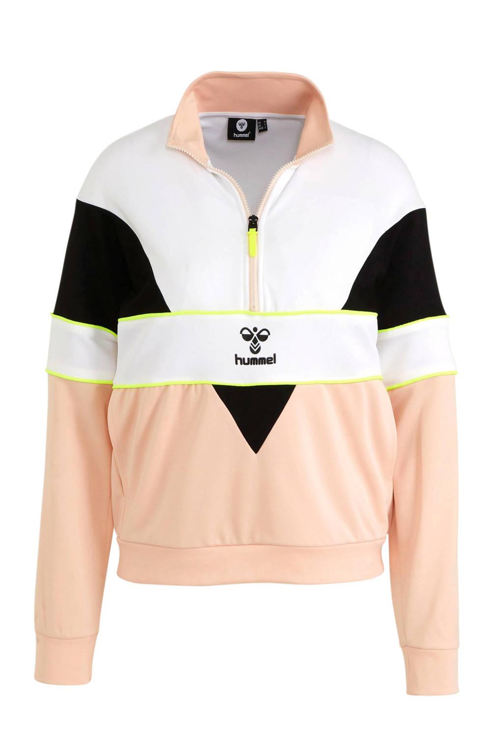 hummel sportsweater lichtroze/wit, Lichtroze/wit/zwart