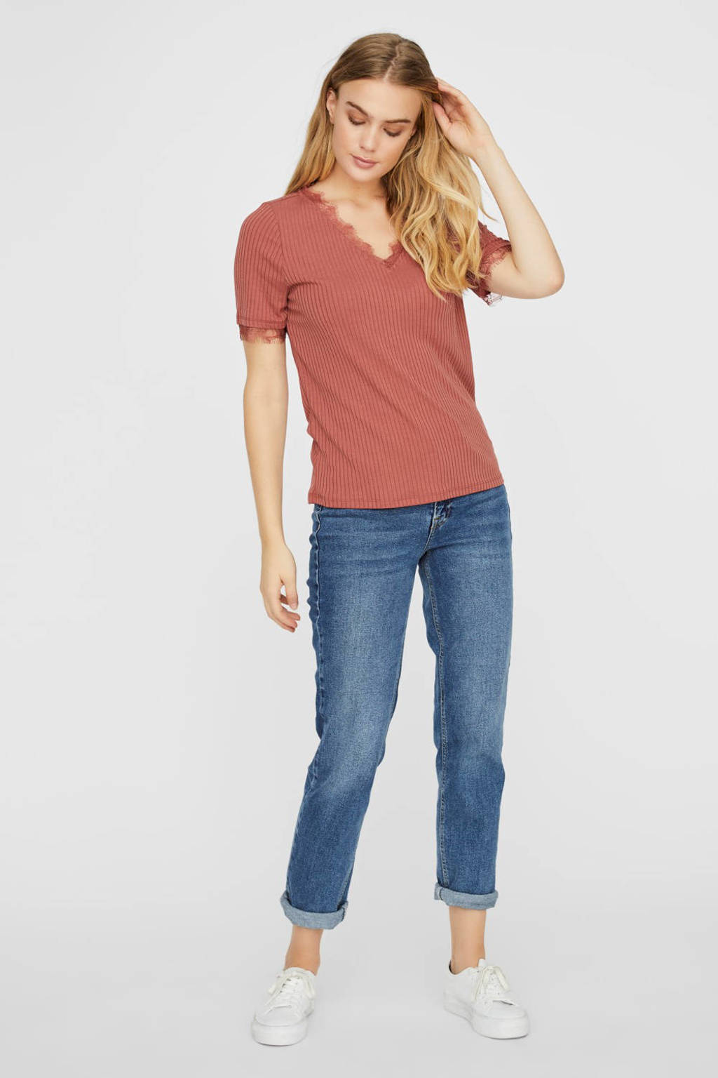 VERO MODA ribgebreid T-shirt met kant roze, Roze