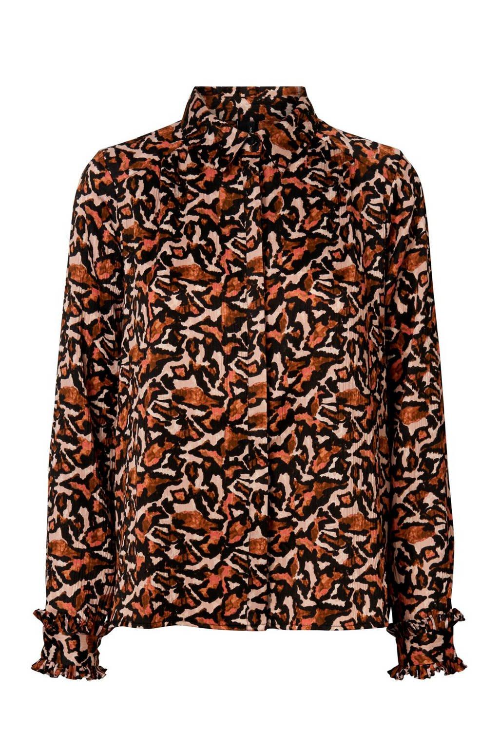 VERO MODA blouse met all over print en ruches bruin/beige, Bruin/beige