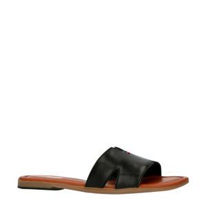 slippers met leren band zwart