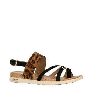 sandalen met panterprint zwart/bruin
