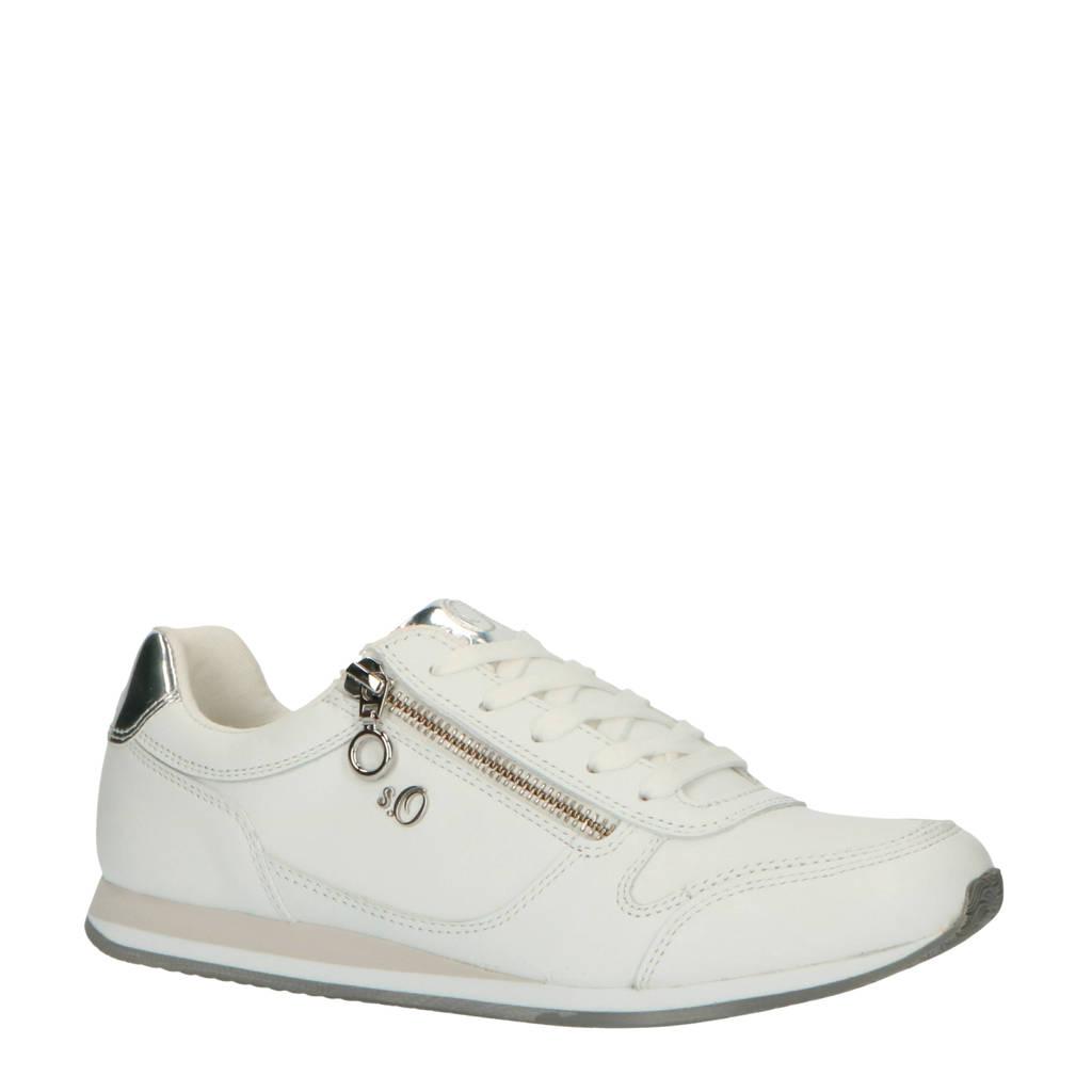 s.Oliver   leren sneakers wit, Wit
