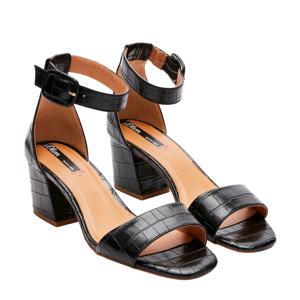 Black Label  sandalettes crocoprint zwart