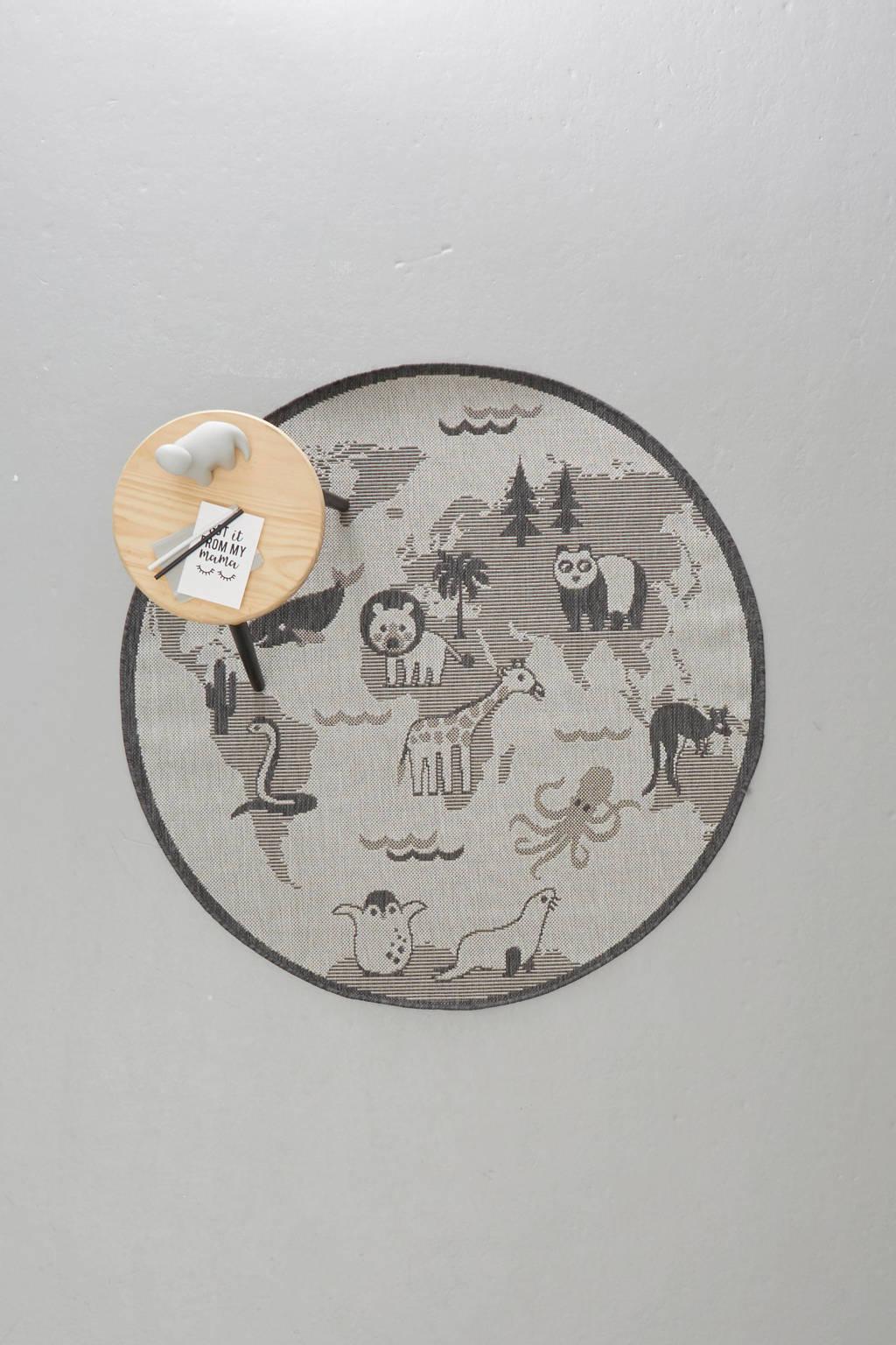 whkmp's own binnen- en buitenvloerkleed LINEO  (Ø120 cm), Zilver/antraciet