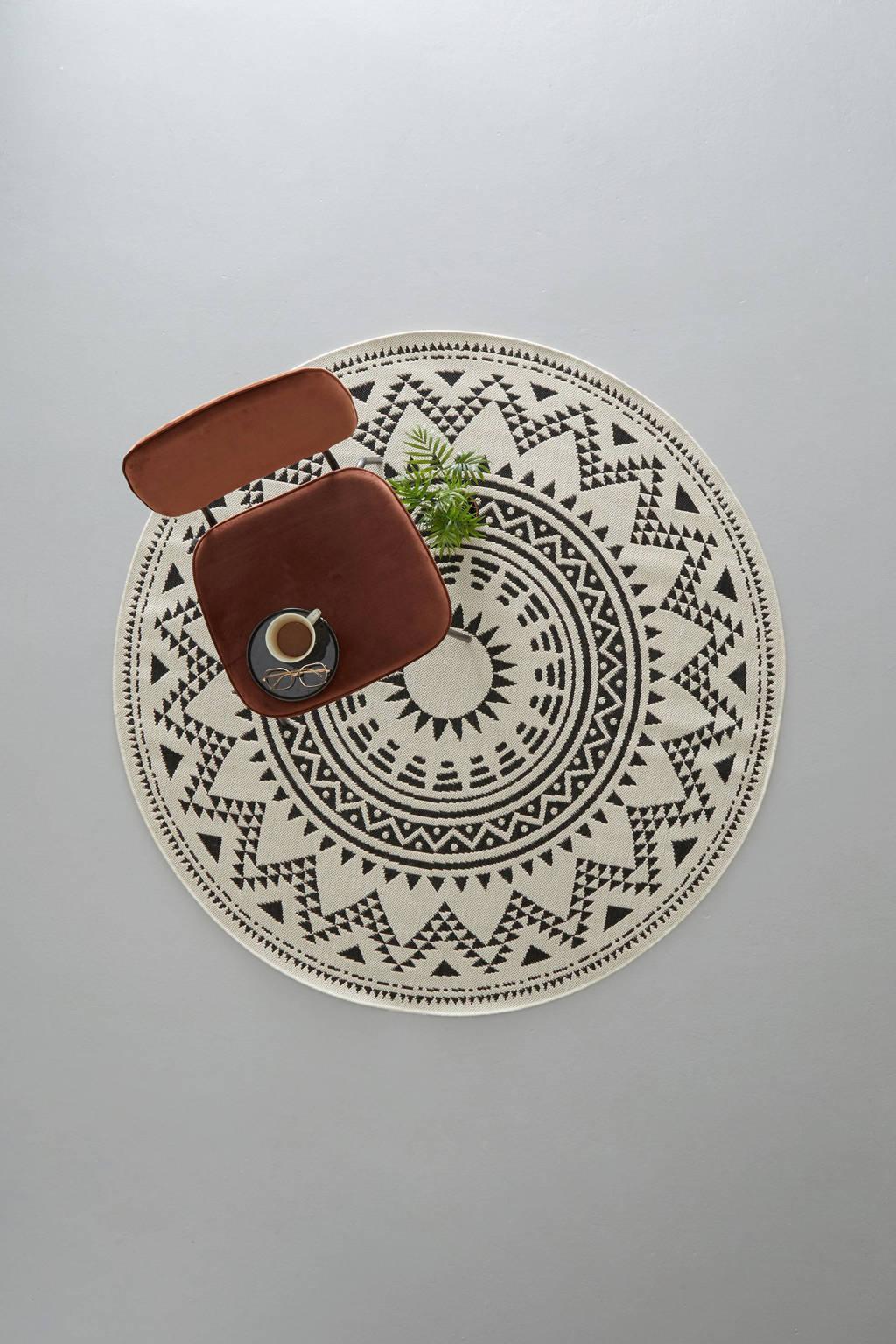 whkmp's own binnen- en buitenvloerkleed  (Ø160 cm), Zwart/wol