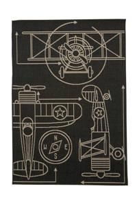 whkmp's own binnen- en buitenvloerkleed  (170x120 cm), Zwart/zand