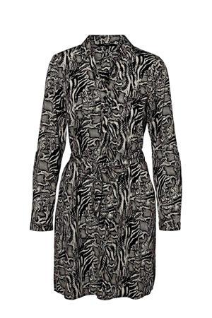 jurk met slangenprint zwart