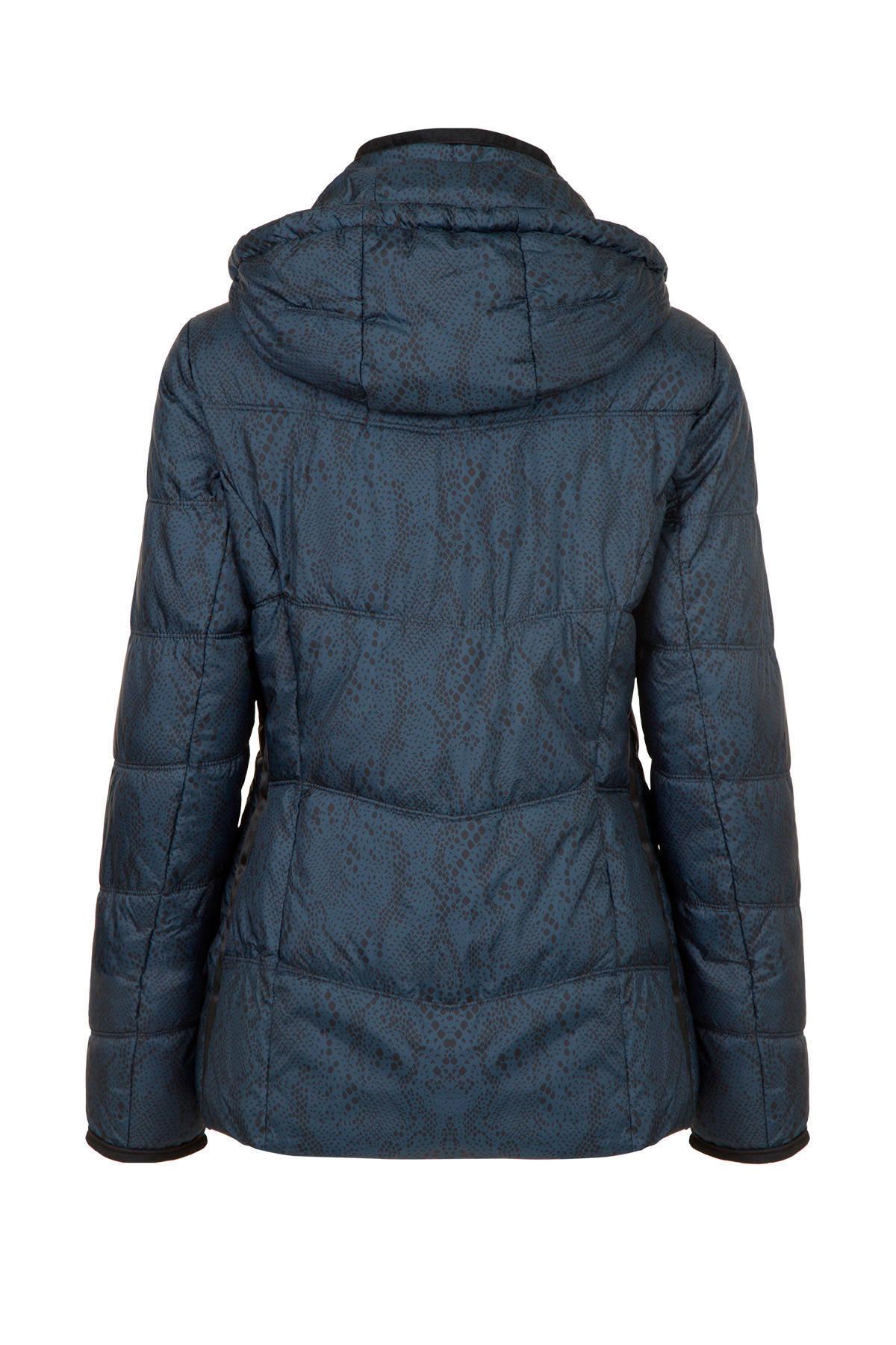gewatteerde jas met contrastbies blauwzwart