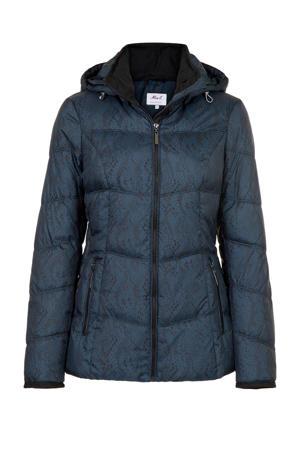 Regulier gewatteerde jas met contrastbies blauw/zwart
