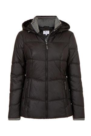 Regulier gewatteerde jas met all over print zwart