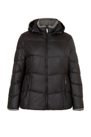Plus gewatteerde jas met slangenprint zwart