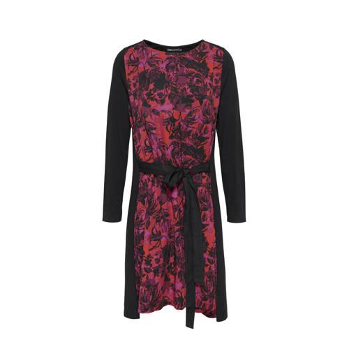 Didi gebloemde jersey jurk zwart roze rood