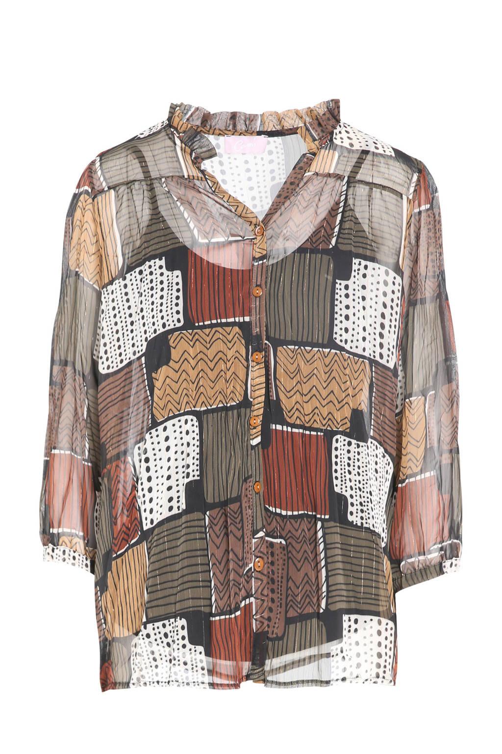 Cassis semi-transparante blouse met all over print kaki, Kaki
