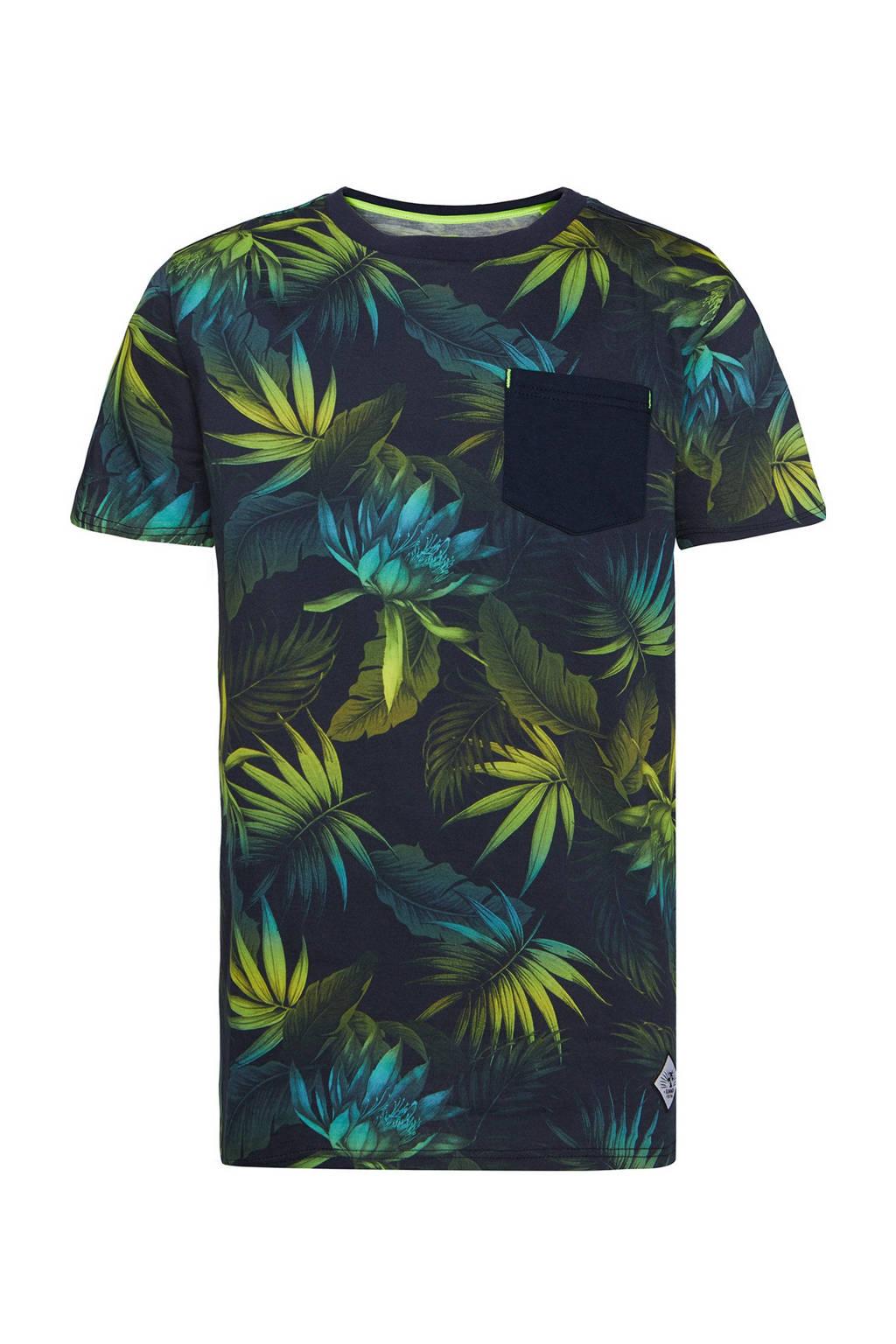 WE Fashion regular fit T-shirt met bladprint donkerblauw/groen, Donkerblauw/groen