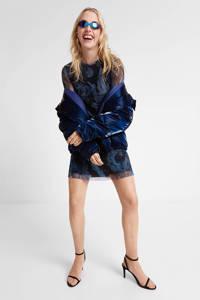 Desigual semi-transparante A-lijn jurk met all over print donkerblauw, Donkerblauw