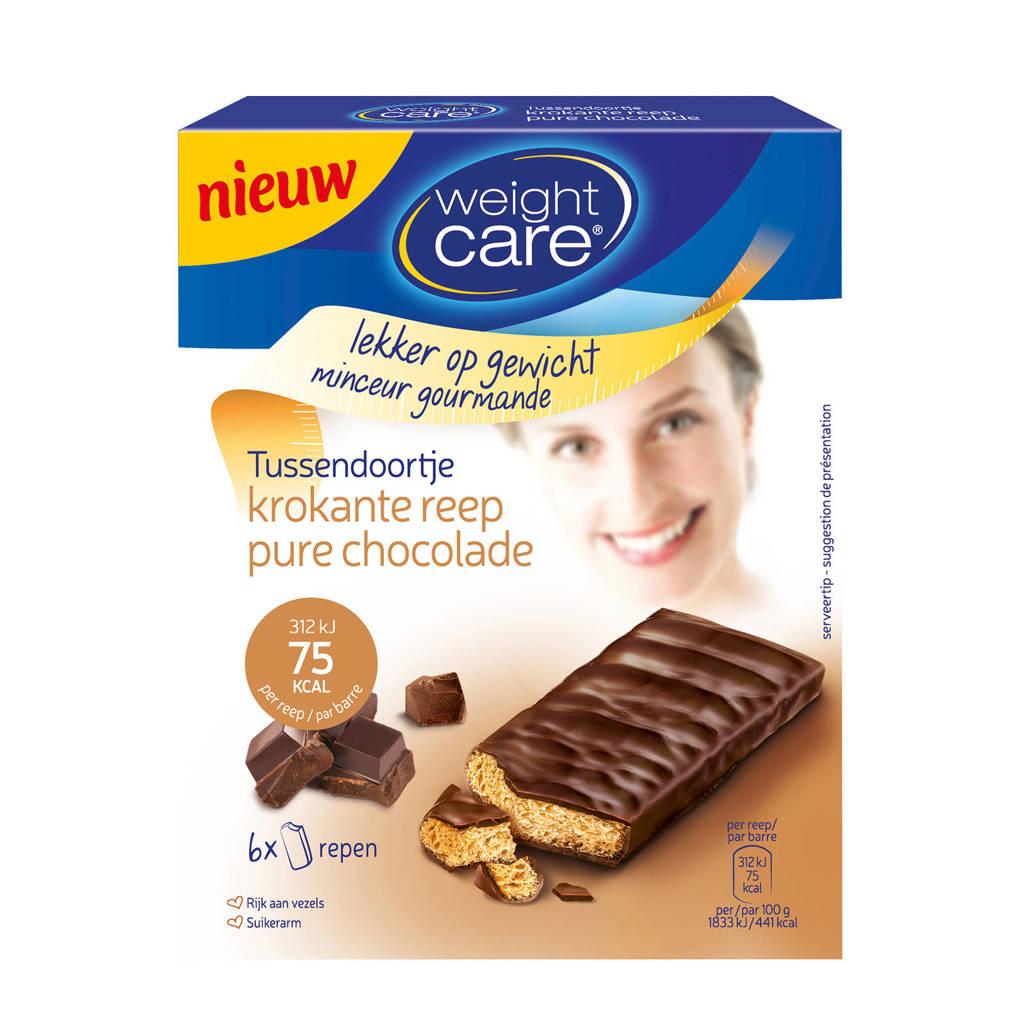 Weight Care Tussendoortje Krokante Reep pure chocolade -6 stuks