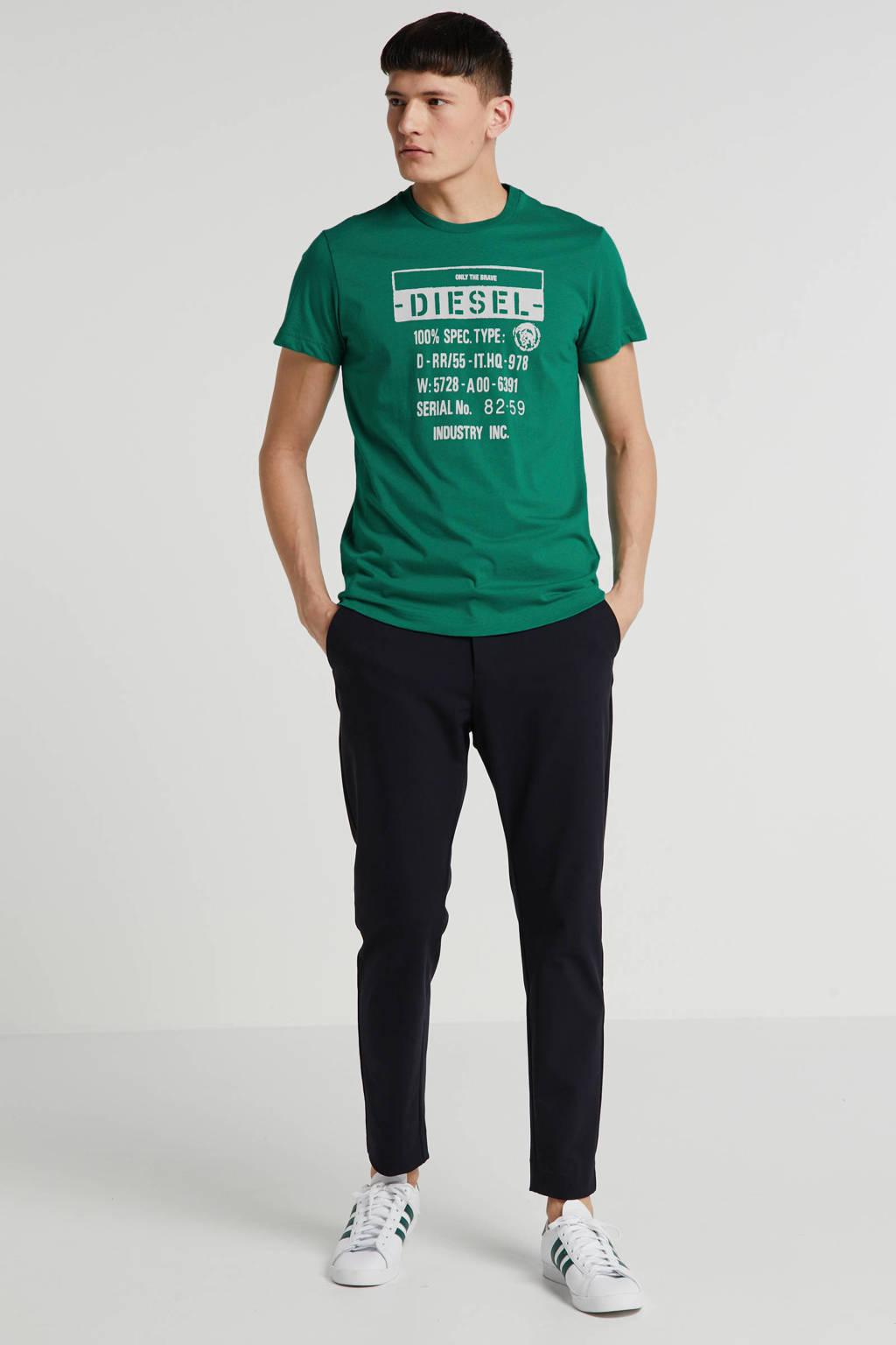 Diesel T-shirt met printopdruk groen, Groen