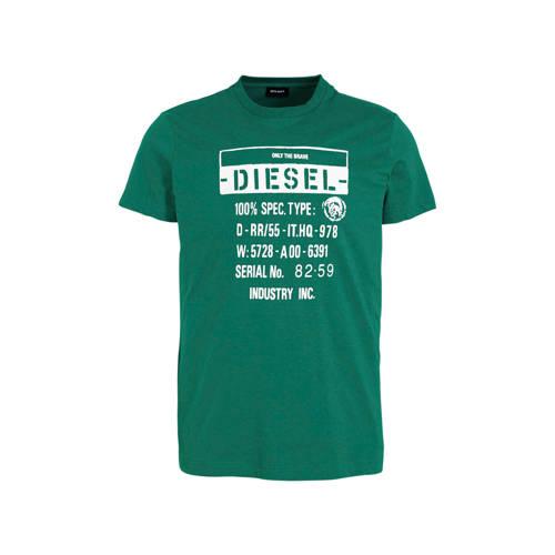 Diesel T-shirt met printopdruk groen