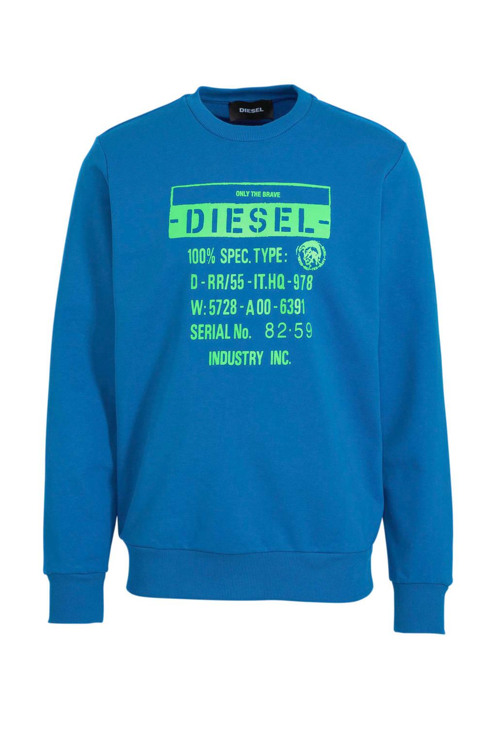 Diesel sweater met logo blauw, Blauw