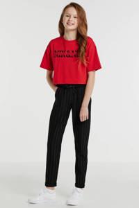 NIK&NIK T-shirt met logo rood/zwart, Rood/zwart