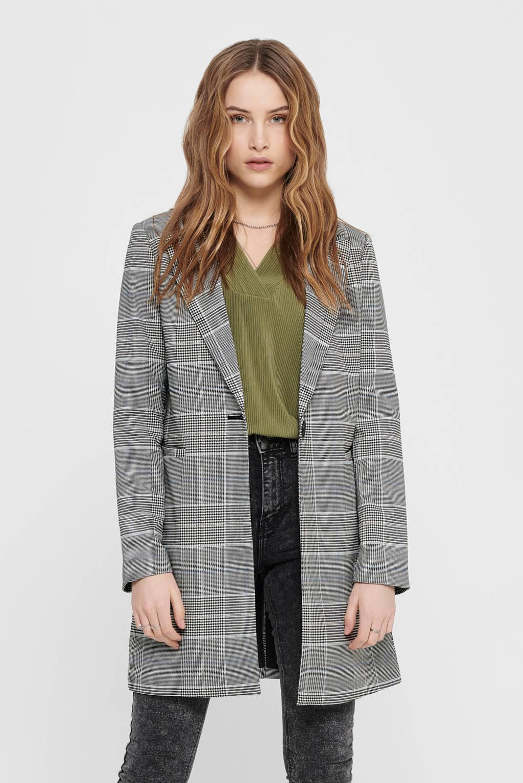 ONLY geruite coat zwart/wit/lichtblauw, Zwart/wit/lichtblauw