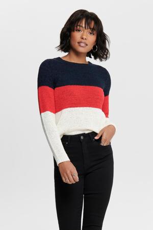 fijngebreide trui donkerblauw/rood/wit
