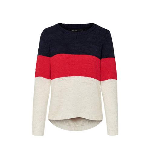 ONLY fijngebreide trui donkerblauw/rood/wit