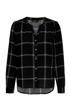 geruite blouse zwart/wit