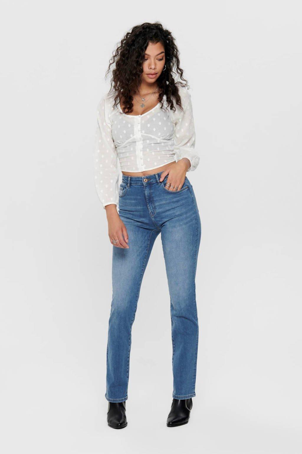ONLY high waist regular fit jeans blauw, Blauw