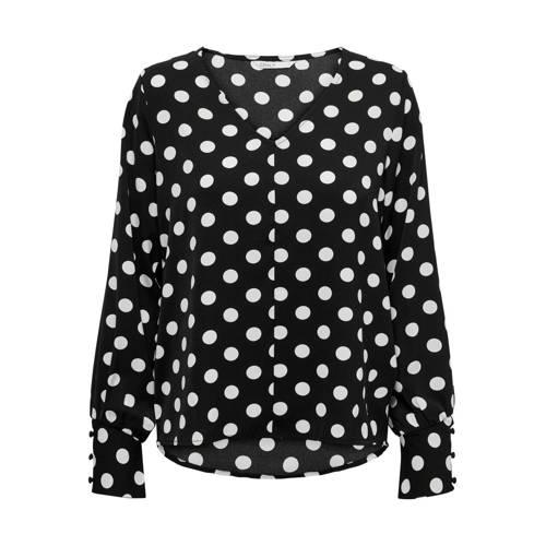 ONLY top met stippen zwart/wit