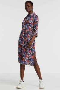ONLY jurk met all over print en ceintuur wit/multicolor