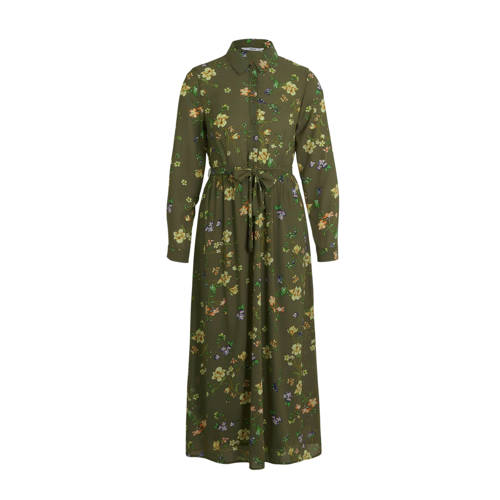 ONLY gebloemde maxi blousejurk groen/multi